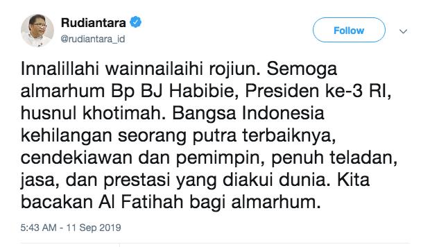 kominfo tweet rudiantara habibie - Duka Cita Menkominfo untuk Bapak Teknologi Indonesia