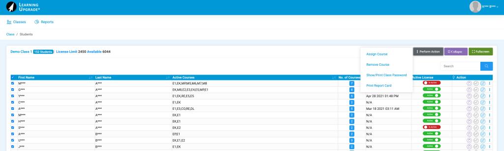 LMS Classes Details ScreenShot