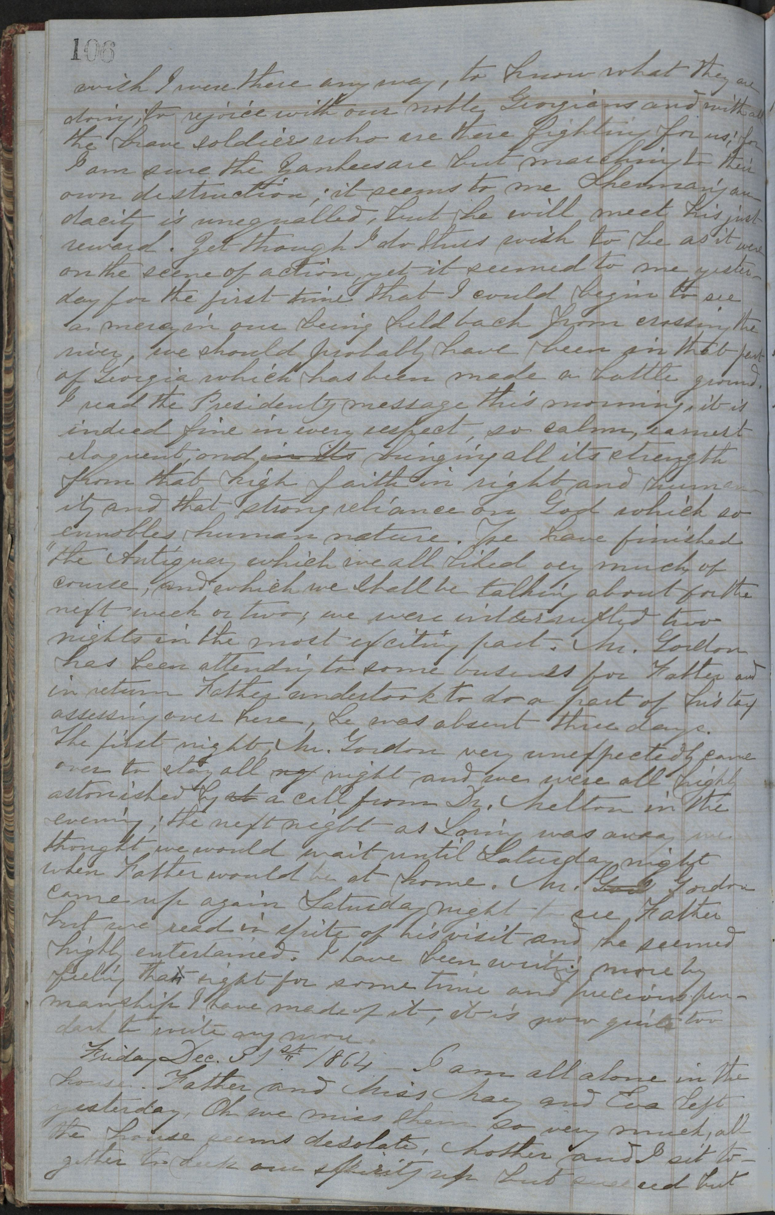 """20 December 1864: """"how I wish I were a man and in Georgia"""