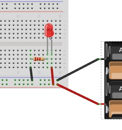 hint breadboard and schematic diagrams for parallel led circuit [ 1659 x 831 Pixel ]