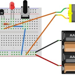 hint breadboard and schematic diagrams for analog potentiometer interface [ 1659 x 918 Pixel ]