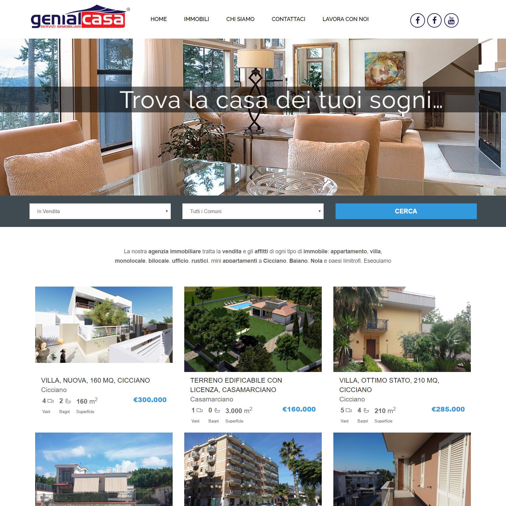 realizzazione sito web immobiliare genialcasa cicciano