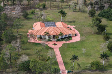 Arial Shot of Private Estate on 5 Acres, Fenced In; Exterior View; 12,000 Square Feet! Perfect for Large Groups, Events!