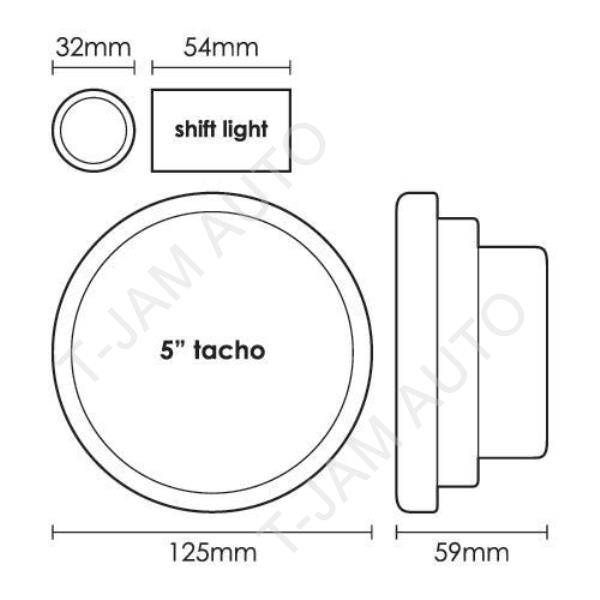 SAAS Tacho White Face 5 Inch 11,000 rpm Gauge Shift Light