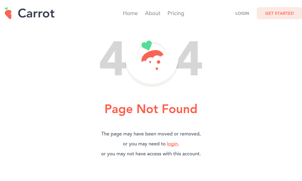 Best 404 pages: Carrot
