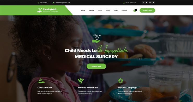 Charity Walk - Multipurpose Nonprofit PSD Template Web3Canvas