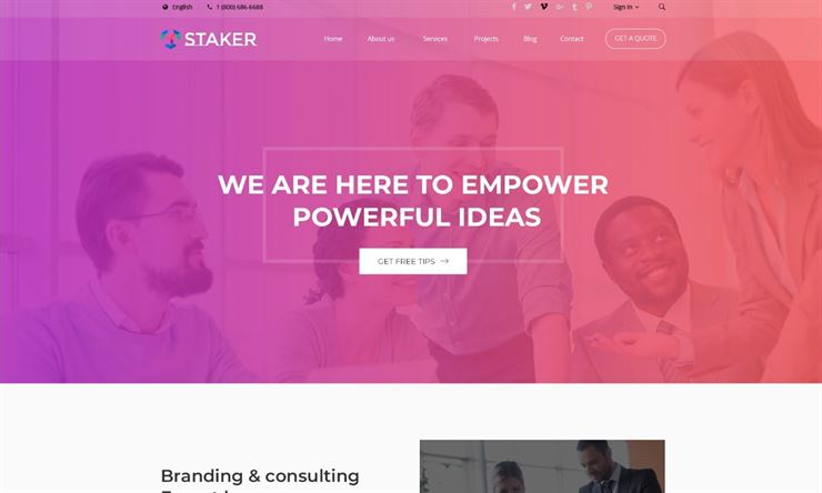 Staker - Creative Agency, Landing Page, Multipurpose PSD Template Web3Canvas