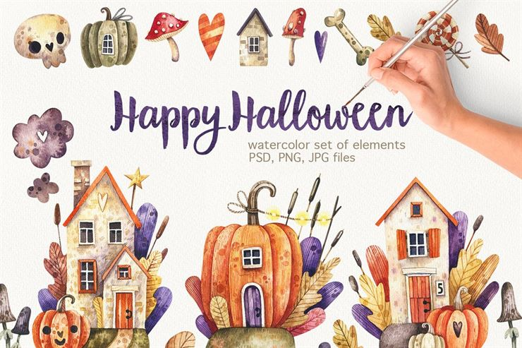 Watercolor Halloween Illustration Web3Canvas