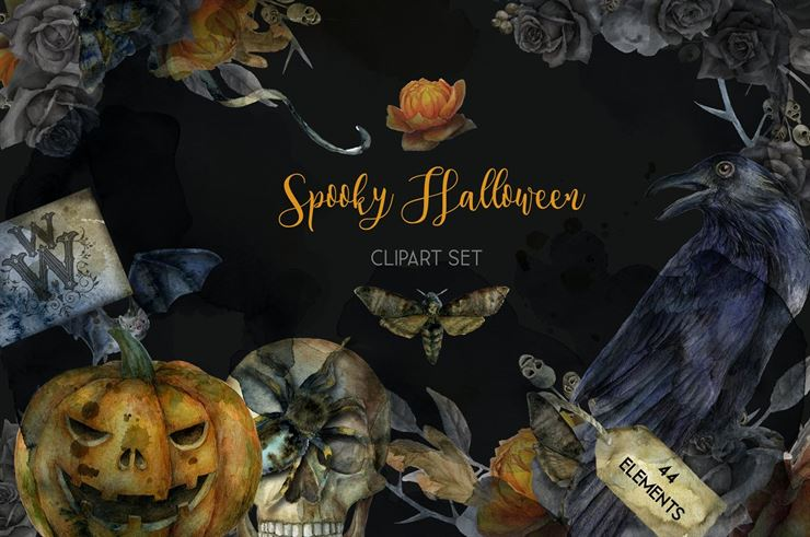 Watercolor Spooky Halloween Pack Web3Canvas