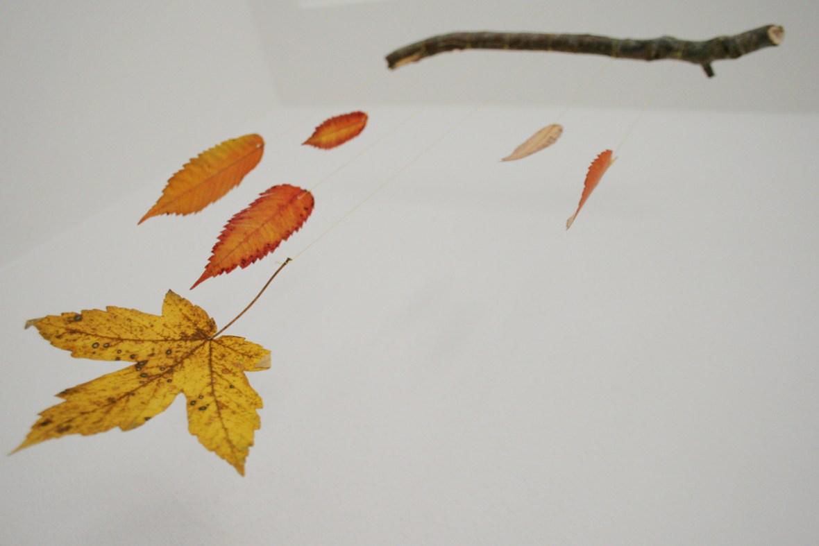 Herbst Mobile aus Blättern - so schön sieht der Herbst drinnen aus. Foto: Julia Marre
