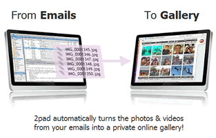 """""""2pad convierte automáticamente fotos y videos enviados desde tu correo en una galería privada en línea""""."""