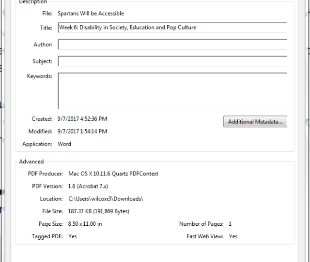 Document Properties Window Title Box With Example Text Displaying