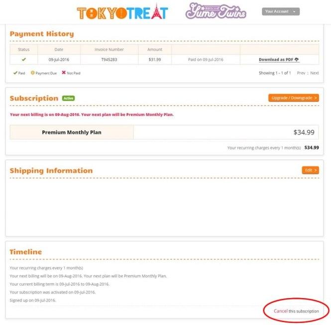 tokyotreat cancelar suscripcion boton