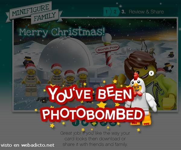 como crear una tarjeta de navidad de lego photobomb