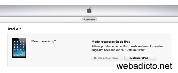 modo recuperacion apple itunes