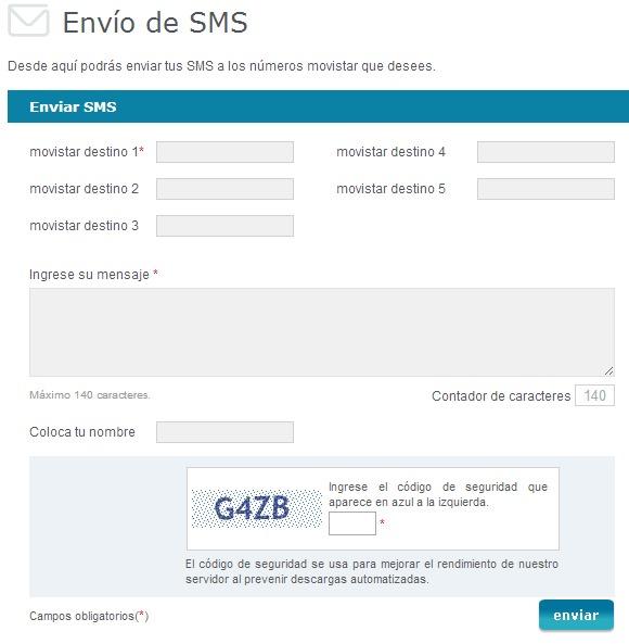 movistar enviar mensajes de texto sms gratis peru - formulario
