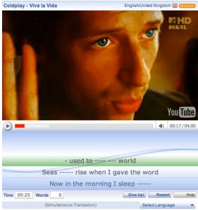Aprende inglés viendo videos de Youtube con LyricsTraining