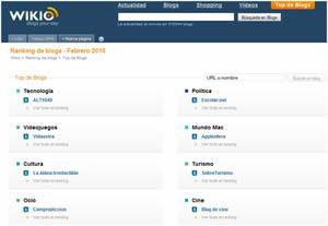 Ranking de blogs de tecnología en Wikio