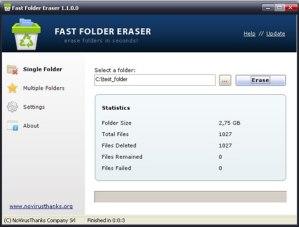 Borrar carpetas rapido con Fast Folder Eraser