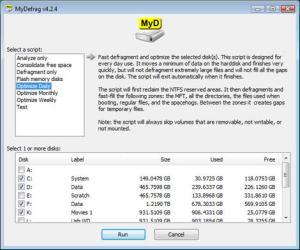 Desfragmentar disco duro con MyDefrag
