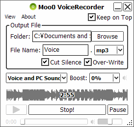 Grabar voz con Moo0 VoiceRecorder