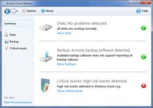 Monitorear discos duros con Acronis Drive Monitor