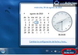 Cambiar el formato de la fecha en Windows 7