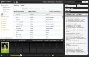 Ver letras de canciones en Grooveshark