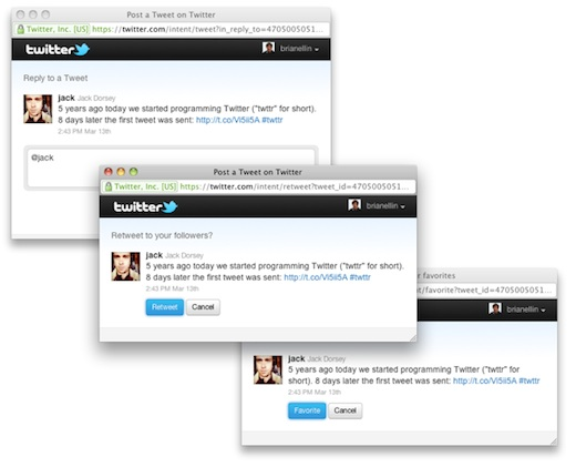 Twitter web intents Twitter publica un cliente interactivo para webs llamado Web Intents