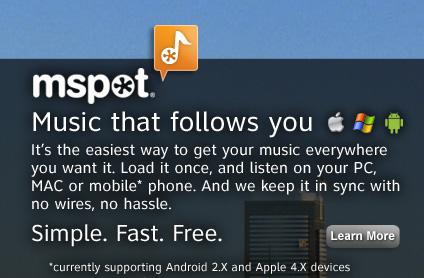 mSpot, servicio de sincronización de música aumenta su capacidad a 5gb - mspot