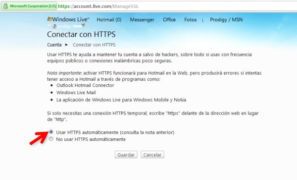 Aumentar tu seguridad: Conectarse a Hotmail por medio de https - 4