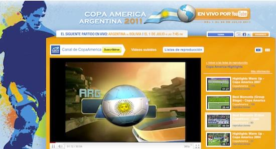 Copa america 2011 argentina Youtube trasmitirá en vivo la Copa América 2011