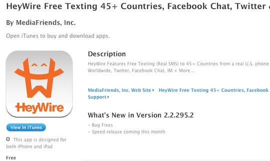 La Aplicación para enviar SMS gratis HeyWire, es expulsada de la App Store Mexicana - Heywire-app-store-mexico
