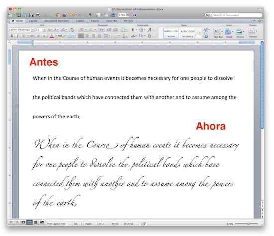 Office Mac 2011 ahora incluye soporte avanzado de caligrafía - office-mac-2011-caligrafia-2