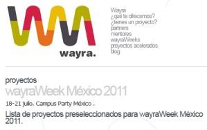 Proyectos seleccionados en Wayra México 2011