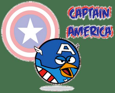 Captain America 1 Angry Birds como Super Héroes y villanos [Imagen]