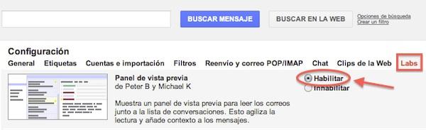 activr el visualizador en paneles gmail2 Gmail presenta nuevas formas de visualizar los correos mediante paneles. Te decimos cómo activarlo