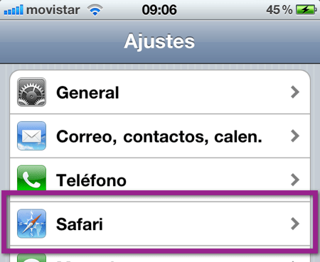 ajustes safari1 Como eliminar el historial, cookies y caché de Safari en iPhone, iPod y iPad