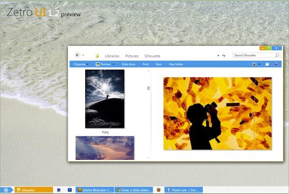 Interfaz Metro en Windows 7 con Zetro UI