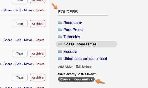 Instapaper, guarda páginas para leer después - web [Reseña] - Instapaper-carpetas