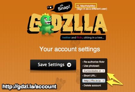 cuenta GDZILLA Subir fotos a flickr desde tu cliente de Twitter favorito