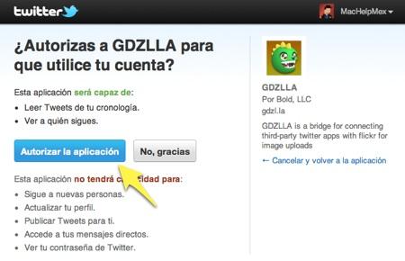 Subir fotos a flickr desde tu cliente de Twitter favorito - gdzilla-twitter-autorizar-aplicacion