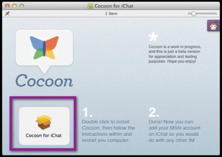 Agrega tu cuenta de Messenger a iChat de una manera mas sencilla en Mac OS X Lion - instalar-cocoon