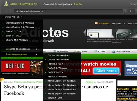 adobe browserlab navegadores Adobe BrowserLab, previsualiza tus páginas web en distintos navegadores