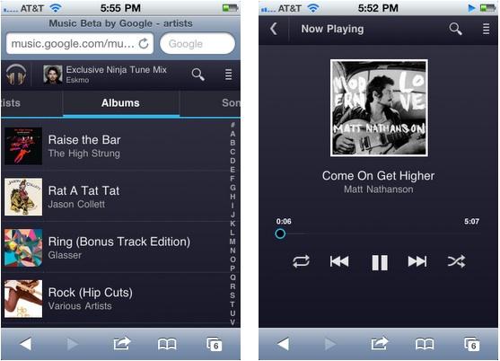 Google lanza oficialmente Google Music, un serio competidor para la iTunes Store - google-music-ios-browser
