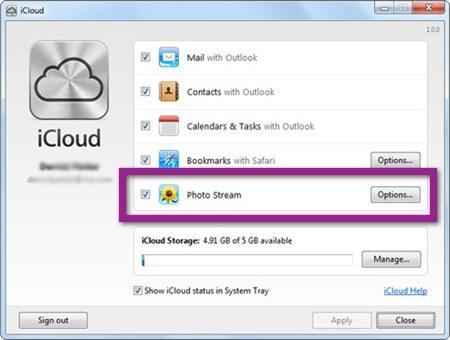 icloud windows1 Como Restablecer Photostream y eliminar las fotografías de iCloud y tus dispositivos