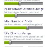 Shake Camera Free, activa la cámara de tu Android con un solo movimiento - shake-camera-parameters