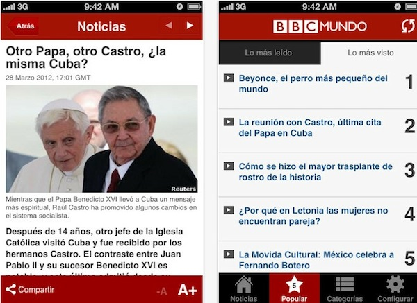 La aplicación de BBC Mundo (en español) está por fin disponible en la App Store - BBc-mundo-ipod-touch