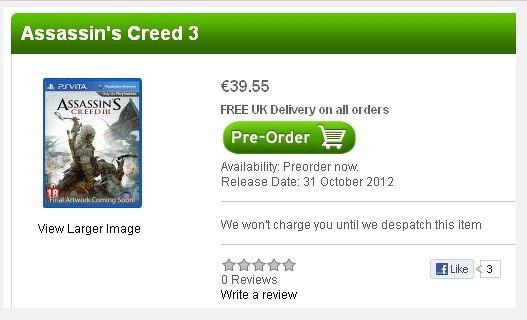ac3 ps vita Assassin's Creed 3 estaría disponible para PS Vita