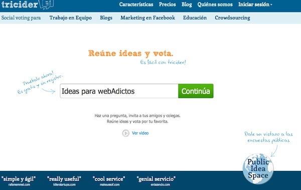 Tricider, una red para compartir ideas y votar por las mejores - Tricider